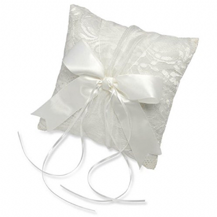 White Lace Square Ring Cushion